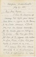 Letter from CHARLES ELIOT NORTON to CAROLINE CRANE MARSH, dated                             July 27, 1881.